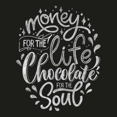 Chocolate hand lettering chalk quote. Christmas winter word composition. Vector design elements for t-shirts, bag, poster, card, sticker and menu 矢量图像