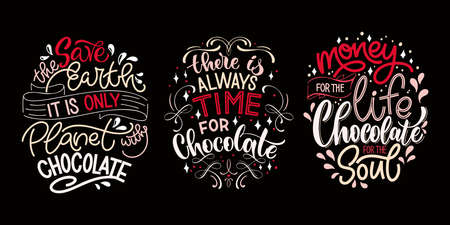 Chocolate hand lettering quotes set. Colorful Christmas word composition. Vector design elements for t-shirt, bag, poster, card, sticker and menu Stock Illustratie