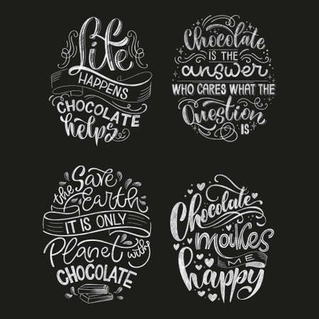Chocolate hand lettering chalk quotes set. Christmas winter word composition. Vector design elements for t-shirt, bag, poster, card, sticker and menu