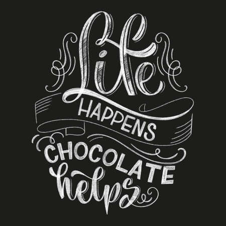 Chocolate hand lettering chalk quote. Christmas winter word composition. Vector design elements for t-shirts, bag, poster, card, sticker and menu Stock Illustratie
