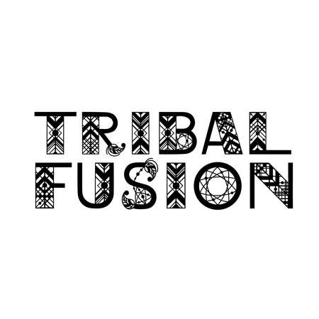 Tribal dance style name written by ethnic letters. Handdrawn vector design for banners, card, poster, flyer and party invitations