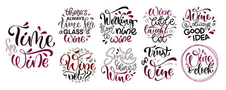 Wine vector hand lettering quotes set. Inspirational typography for bar, pub menu, prints, labels and design. Stock Illustratie