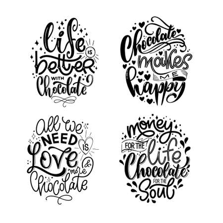 Chocolate hand lettering quotes set. Warm Christmas winter word composition. Vector design elements for t-shirts, bag, poster, card, stickers and menu