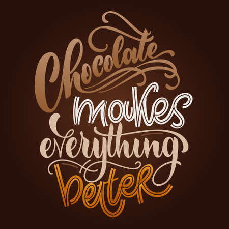 Chocolate hand lettering quote. Colorful Christmas winter word composition. Vector design elements for t-shirts, bag, poster, card, stickers and menu Stock Illustratie