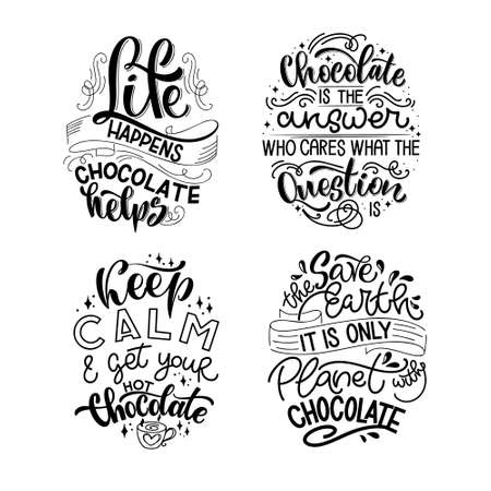 Chocolate hand lettering quotes set. Warm Christmas winter word composition. Vector design elements for t-shirts, bag, poster, card, sticker and menu