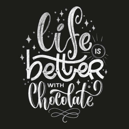 Chocolate hand lettering chalk quote. Christmas winter word composition. Vector design elements for t-shirts, bag, poster, card, sticker and menu Illustration