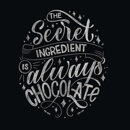 Chocolate hand lettering chalk quote. Christmas winter word composition. Design elements for t-shirts, bag, poster, card, sticker and menu
