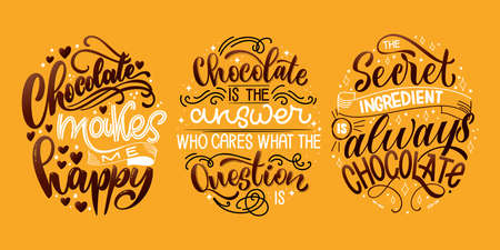 Chocolate hand lettering quotes set. Colorful Christmas word composition. Vector design elements for t-shirt, bag, poster, card, sticker and menu Illustration