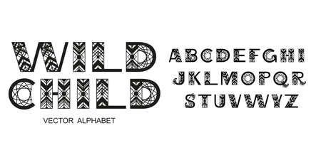 Tribal Alphabet. Capital letters in geometric ethnic style . Vector font illustration