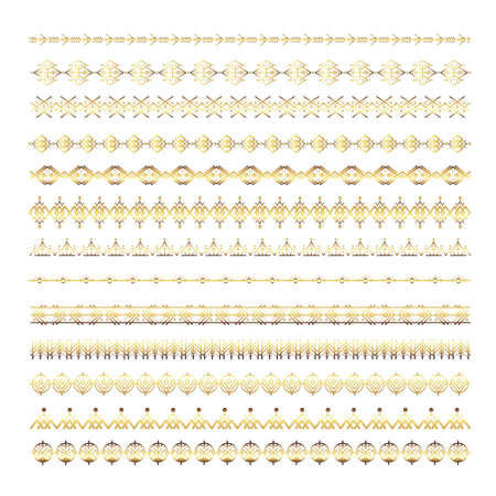 Gold Ethnic line ornaments. Tribal geometric design, aztec style, native americans texile. Vector elements for brushes, textures, patterns.