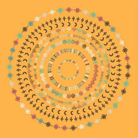 Mandala ethnic ornaments. Tribal line geometric design, aztec style, native american texile. Vector elements for textures, patterns.