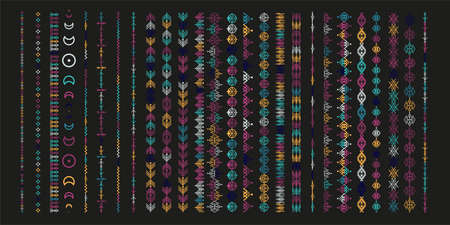 Color ethnic line ornaments. Tribal geometric design, aztec style, native americans texile. Vector elements for brushes, textures, patterns. Illustration