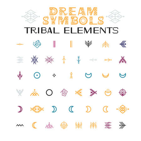Tribal Elements of ornaments. Letters and symbols in geometric ethnic style. Aztec and native americans fabric style. Vector illustration