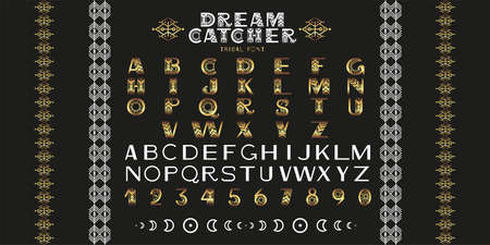 Gold tribal Alphabet. Letters, numbers and symbols in geometric ethnic style . Vector font illustration
