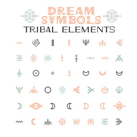 Tribal Alphabet and ornaments. Letters and symbols in geometric ethnic style. Aztec and native americans fabric style. Vector illustration Illustration