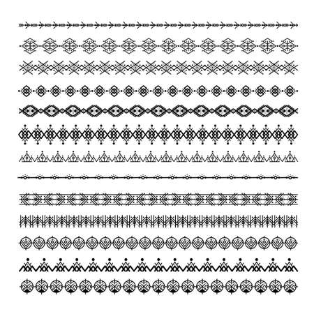 Black ethnic line ornaments. Tribal geometric design, aztec style, native americans texile. Vector elements for brushes, textures, patterns.