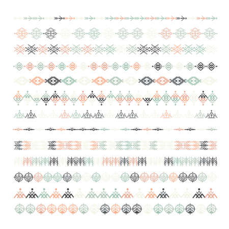 Boho ethnic line ornaments. Tribal geometric design, aztec style, native americans texile. Vector elements for brushes, textures, patterns. Illustration
