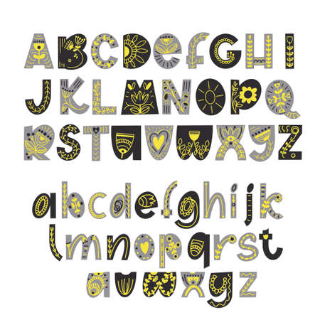 Hand drawn latin alphabet in scandinavian style. Folk art font with flower and leaves ornament. For typography poster, card, label, banner design.
