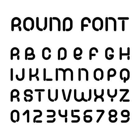 Black round font. Vector alphabet of latin letters and numbers.
