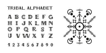 Tribal style alphabet. Ethnic ornamental font. Vector illustration.