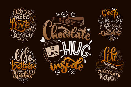 Chocolate hand lettering quotes set. Warm Christmas winter word composition. Vector design elements for t-shirts, posters, cards, stickers and menu