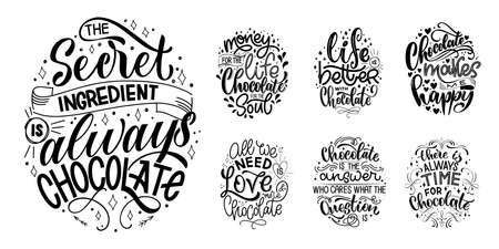 Chocolate hand lettering quotes set. Warm winter word composition. Vector design elements for t-shirts, bags, posters, cards, stickers and menu Çizim
