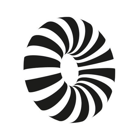3D lined torus. Abstract vector geometry. Vector design elements