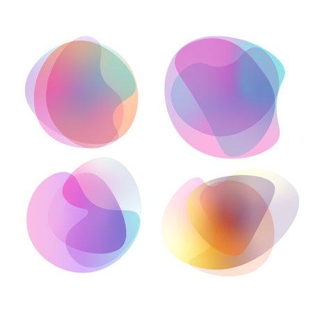 Abstract colorful vibrant gradient blob shapes set. Random blotch. Vector illustration.