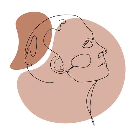 Modern abstract woman faces. Continuous line. Vector design for poster, cards, banding, bags and t-shirt. 向量圖像