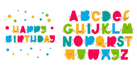 Children font in the cartoon style. Funny letters with cute faces. Colorful typography. Vector alphabet.