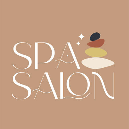 Spa salon icon. Fashion and beauty quotes. Vector illustration. Typography for banner, poster or clothing design. 向量圖像