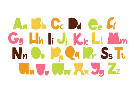 Children font in the cartoon style. Colorful typography. Vector alphabet. 向量圖像