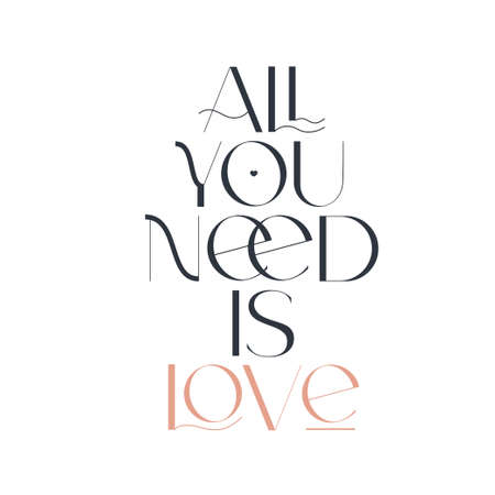 All you need is love. Elegance wedding typography. Vector design for for valentine day, birthday card and stamp. 向量圖像