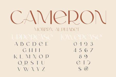 Modern sans serif elegance font. Classic minimal high contrast wedding font. Uppercase only. Vector illustration.