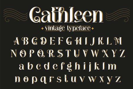 Vintage decorative font - Cathleen. Retro typerface. Elegance serif alphabet. Vector font for label, branding, tags, t-shirt, alcohol bottle.
