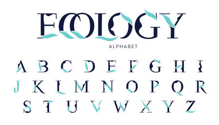 Vector Ecology Alphabet with decorative leafs elements. Modern elegance font with uppercase letters. Vector Illustration.