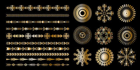 Tribal geometric gold pattern. Boho jewellery ornament. Vector design for stickers, tattoo, noteboot, bag, t-shirt.