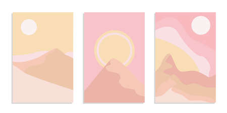 Desert abstract boho landscape with sun and moon in pink color. Abstract vector contemporary aesthetic background in Earth tones. Set of posters.