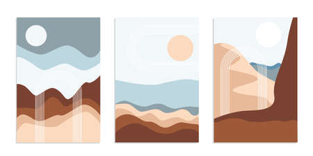 Desert abstract boho landscape with sun and moon in arch. Abstract vector contemporary aesthetic background in Earth tones. Set of posters.