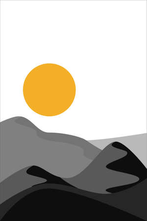 Desert abstract boho landscape with sun in black color. Abstract vector contemporary aesthetic background in Earth tones.