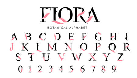 Vector Floral Alphabet with decorative leafs elements. Modern elegance font with uppercase letters. Vector Illustration. Иллюстрация