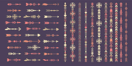Tribal arrow set. Ethnic vector design collection. Boho elements for tattoo, stickers, t-shirt, bag, clothes.