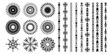 Ethnic hand drawn vector line border set. Boho fashion style pattern. Vector design elements. Иллюстрация