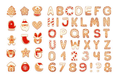 Christmas gingerbread cookies alphabet with figures. Biscuit letters and characters for xmas design. Vector illustration with sugar decorations. Иллюстрация