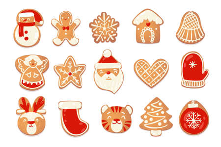 Gingerbread christmas cute cookies set. Biscuit charecters for new year design. Vector catroon illustration.