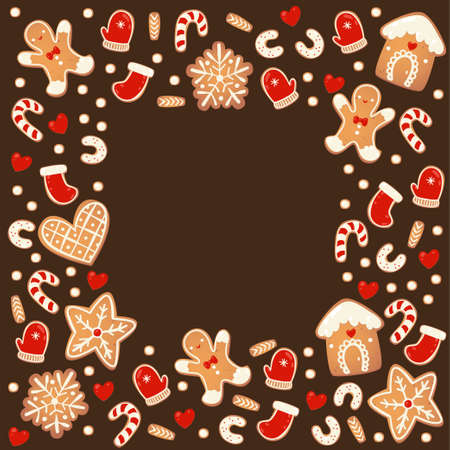 Christmas gingerbread cookies square chocolate frame isolated. New year decorative garland. Cartoon hand drawn vector illustration Иллюстрация