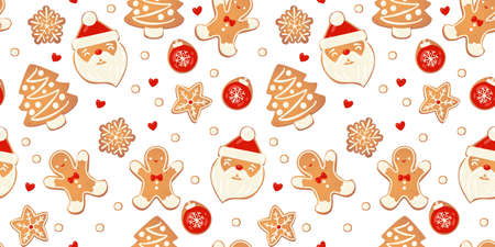 Christmas gingerbread vector seamles pattern. Winter characters in cartoon style. Awesome holiday design background. New year in scandinvian style. Иллюстрация