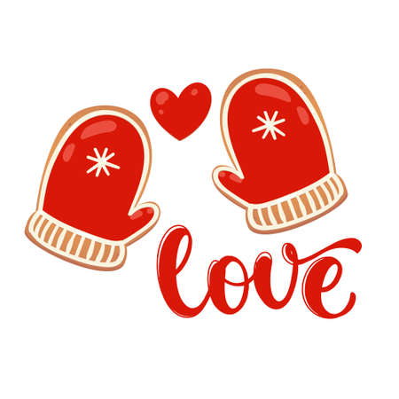 Greeting card with gingerbread cookies. Love with red mitten. Vector illustration for New Year design. Иллюстрация
