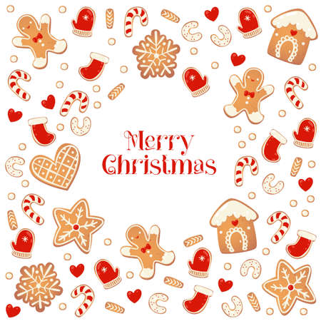 Merry Christmas card with gingerbread cookies. Frame from biscuits. Vector illustration for New Year design.