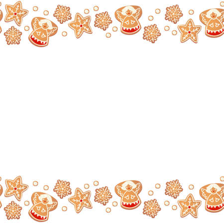 Christmas gingerbread cookies seamless border isolated. New year decorative garland. Cartoon hand drawn vector illustration